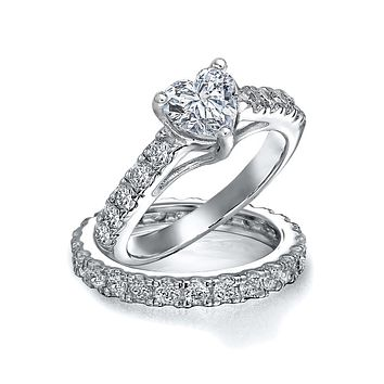 1 CT 925 Sterling Silver AAA CZ Heart Wedding Engagement Ring Band Set