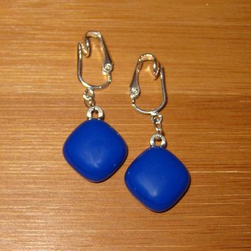 Royal Blue Dangle Clip on Earrings Fused Glass Jewelry - Blue Diamond  by mysassyglass