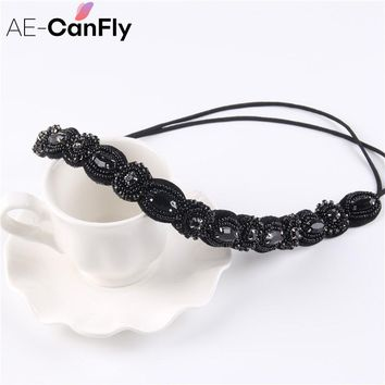 Vintage Black Queen Shiny Crystal Beads Elastic Headband Women Hair Accessorie 1H5004
