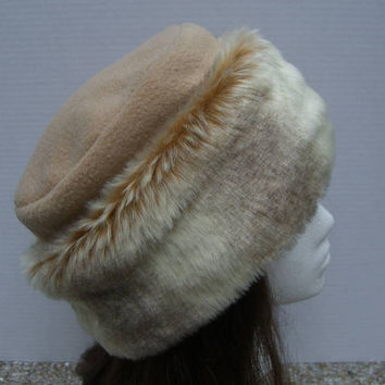 Super Soft FAUX FUR Hat, Pillbox Style Hat, Deep Ecru Fur Hat, Women's Fur Hat