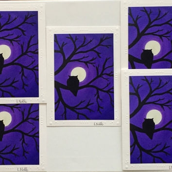 5 Art print cards of original acrylic painting / set of 5 / purple owl in the moonlight / photo print