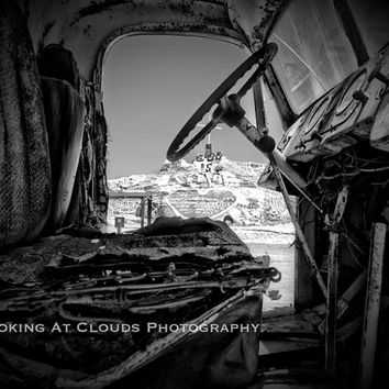 old truck photo, Salvation Mountain, statement art, black and white photo, vintage truck, funky art photo, campy edgy art, abandoned truck