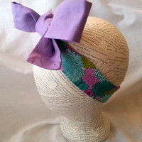Fabric headwrap - headwrap for child to adult - retro style headwrap - extra long headwrap - big bow headwrap - purple headwrap - baby girl