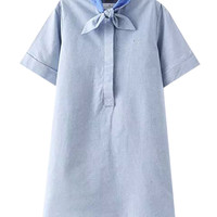 Short Sleeve Bowknot A-Line Mini Dress