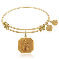 Expandable Bangle in Yellow Tone Brass with Alpha Chi Omega Symbol