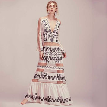 Boho Fashion Print Perspective Gauze Stitching Chiffon Deep V-Neck Long Sleeve Maxi Dress