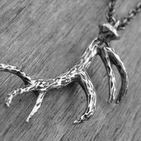 Deer Antler Necklace Antler Jewelry Deer Antlers Silver Antlers Woodland Nature Hunter Hunting Deer Necklace Deer Jewelry Taxidermy Antlers