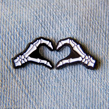 Skeleton Heart Hands Enamel Pins - Set of 2