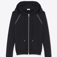 Saint Laurent HOODED SWEATSHIRT IN BLACK FRENCH TERRYCLOTH, Leather And Silver Toned Metal Studs   ysl.com