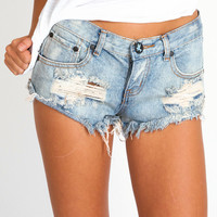 One Teaspoon Trashwhore cut off shorts in dusty