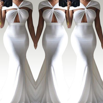 White Cross-Wrap Mermaid Dress