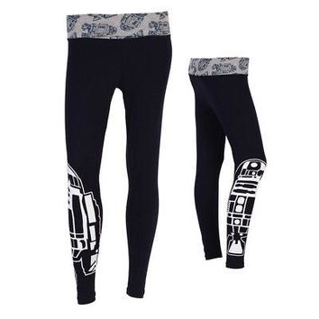 Star Wars R2-D2 Droid Repeat Officially Licensed Women's Yoga Pants - Navy Blue