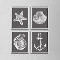 "Set of 4 Nautical Prints. Bathroom Posters. Shell. Star Fish. Anchor. Brown and White. Vintage Inspired. 8.5x11"" Prints"