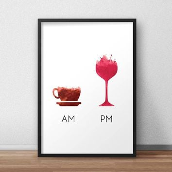 Funny Wine Quote Less Whine More Wine Poster Canvas Art Print  , Humour Wine Wall Picture Canvas Painting Bar Art Decor