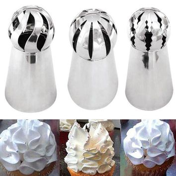 CREYLD1 3Pcs/lot Stainless Steel Russian Ball Torch Nozzles Flower Fondant Icing Piping Tips Cream Bakery Pastry Cupcake Decoration Tool
