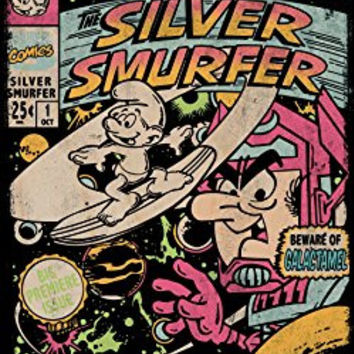 'Silver Smurfer' Cartoon Parody - Plywood Wood Print Poster Wall Art