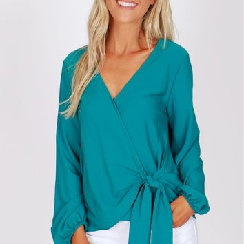 Side Tie Blouse Jade
