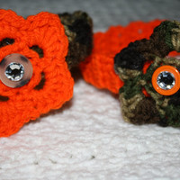 SALE BOGO Camo and Orange Headband Sized Newborn with Bling- Adult headband- Ready to ship, Photo Prop Pick one, or set
