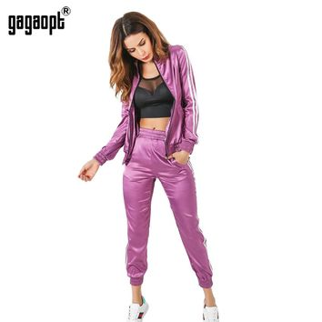 Gagaopt  Tracksuit Women Spring Autumn Casual 2 Pieces Purple/Green Suit (Hooded Sweatshirt+Long Pants) Zipper Leisure Suits