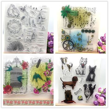 Colorful and Dog Designs Transparent Clear Stamp DIY Silicone Seals Scrapbooking/Card Making/Photo Album Decoration Supplies