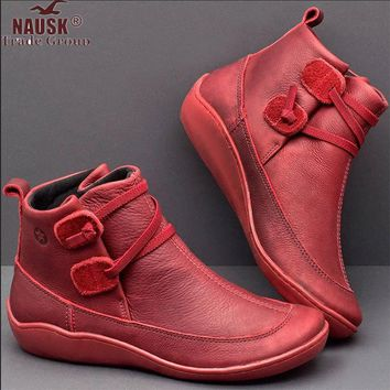 NAUSK Women Boots Ankle Boots Roman Pointed Casual Booties Spring Autumn Women Boots Ladies Western Stretch Fabric BotasLeather