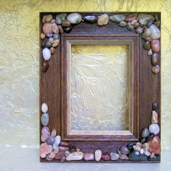 Rustic Wood 5 x 7 Picture Frame Embellished With Stones, Wall Hanging, Home Decor, Beach Decor