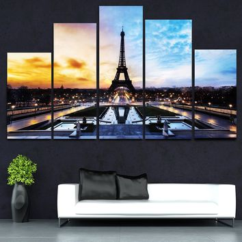 5 Panels Canvas Painting Picture Wall Art Eiffel Tower Paris Streets Home Decor NO Frame