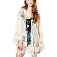 LUCLUC White Cut Out Lace Long Sleeve Chiffon Kimono - LUCLUC