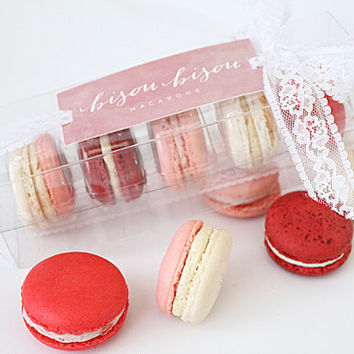 "French Macaron ""Build-Your-Own"" 5 Assorted Edible Macarons-- Gift Boxed--Tea Cookies--Best French Macaron-- Bisou Bisou"