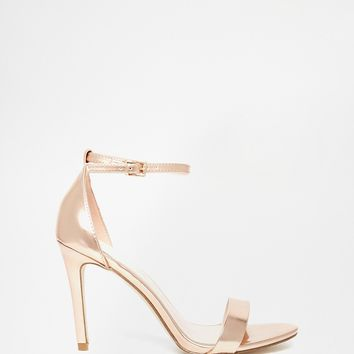 ALDO Paules Leather Rose Gold Barely There Heeled Sandal