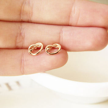 Tiny Pretzel Knot Stud Post, Rose Gold Post Earrings, Studs, Stud earrings, earrings, instagram, holiday gift ideas, tumblr gift ideas