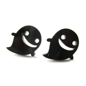 Adorable Happy Smiley Ghost Shaped Laser Cut Statement Stud Earrings in Black Acrylic