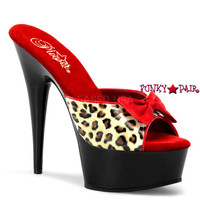 Delight-601-6, 6 Inch High Heel with 1.75 Inch Platform Leopard Print Two Tone with Bow