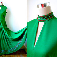 Bright Green Vintage Dress / Sleeveless Floor Length Gown With Glitter Trim