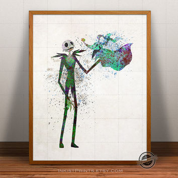 Nightmare Before Christmas Watercolor Print, Jack Skellington Poster, Zero Art,  Tim Burton Illustration, Halloween, Giclee Wall, Artwork