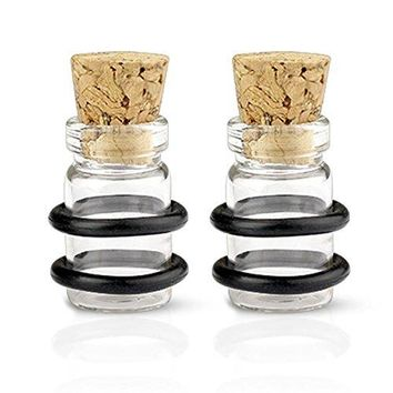 BodyjJ4You Ear Gauge Plugs Glass Clear Jar Cork Bottle 00G Double O-Ring 10mm Ear Expanders