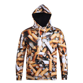 Autumn Winter Thin Hoody Hoodies Men/women 3d Sweatshirts With Cap Print Cigarette Butts Casual Hood