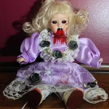 Creepy Doll, Griselda the Undead Demon, Haunted Doll, Altered Porcelain, Halloween Decor, Scary Props, Gothic Doll, Possessed Horror