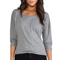 Bobi Light Weight Jersey Boatneck Top in Gray