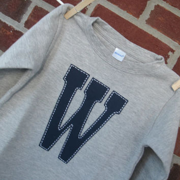 """Ready to ship: Initial shirt """"W"""" for toddler or baby boy, navy initial on gray long sleeve shirt, size 18 months"""