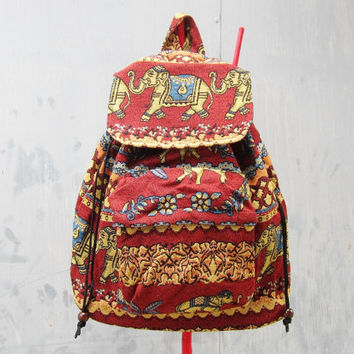 red elephant backpack,women tribal rucksack,backpack,ethnic backpack, hipster backpack boho school bag, travel bag, weekender bag B012