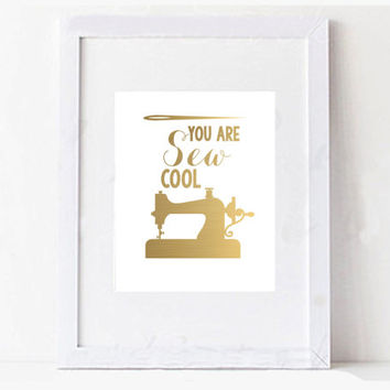 "Mothers Day Sewing ""Sew Cool"" Digital Printable Typography Art"