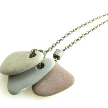 River Stone Necklace Beach Rock Necklace Natural Rock Pendant Necklace Aged Brass River Rock Pendant Necklace Earthy Natural Rock Necklace