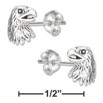 Sterling Silver Earrings:  Mini Eagle Head Earrings On Stainless Steel Posts And Nuts