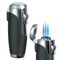 Visol Triad Black Matte Triple Torch Flame Cigar Lighter