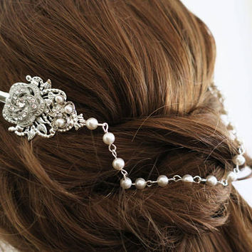 Gatsby Inspired Bridal Headpiece Pearl Crystal Hair Pins 1920 Head Drape Back Chain Bohemian Head Dress Downton Abbey Side  Hair Comb Alicia