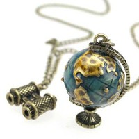Vintage Globe&Telescope Long Chain Pendant Necklace at Jewelry Store Gofavor