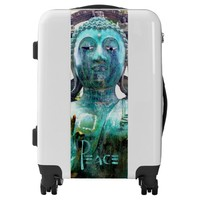 """Peace"" Quote Asian Turquoise Buddha Statue Photo Luggage"