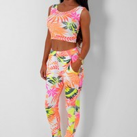 Blair Multicolour Neon Tropical Print Pants | Pink Boutique