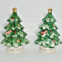 Vintage Lefton Christmas Tree Shakers Salt and Pepper Set Japan Mid Century